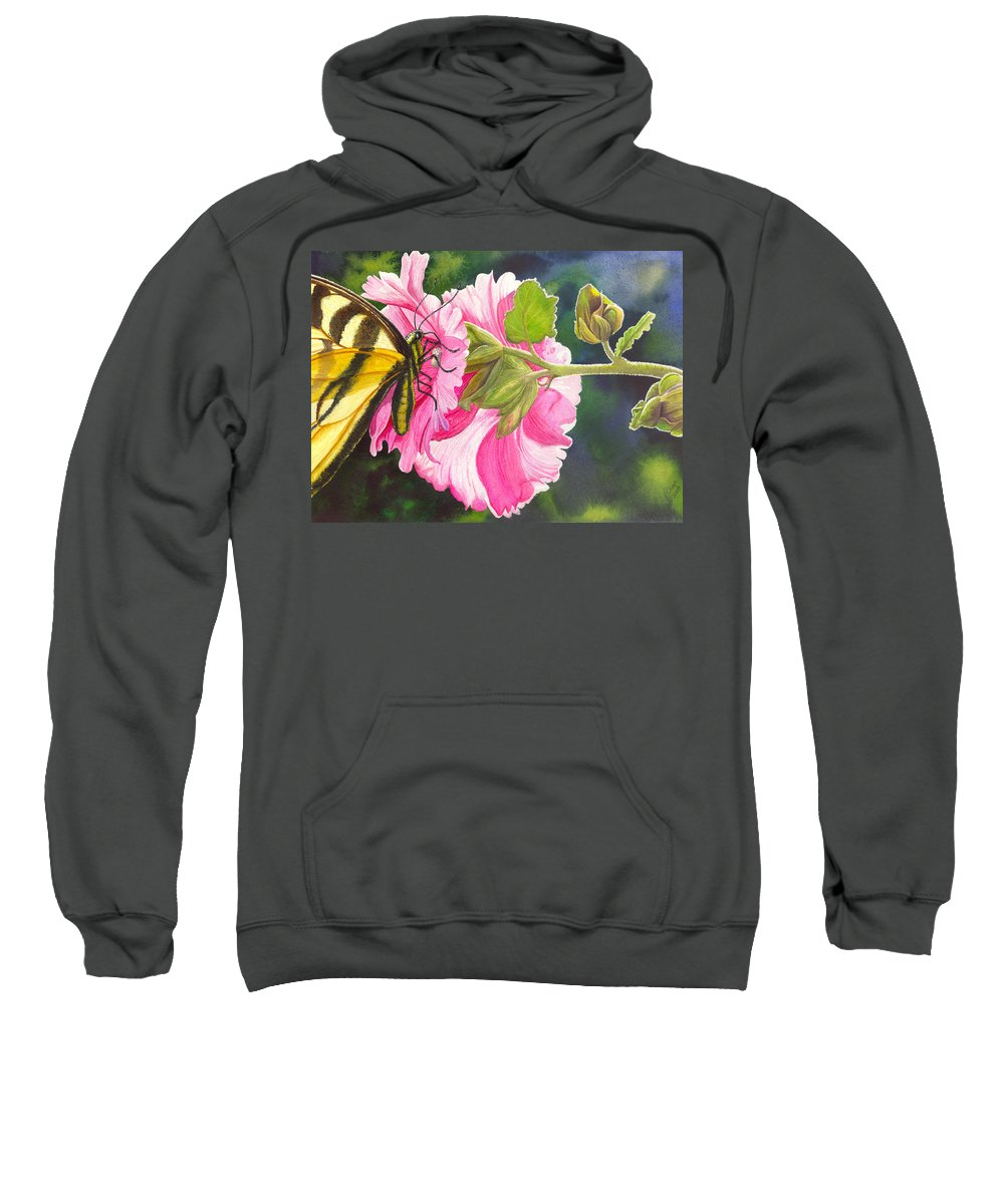 Hollyhock Sweatshirt featuring the painting Pink Hollyhock by Catherine G McElroy