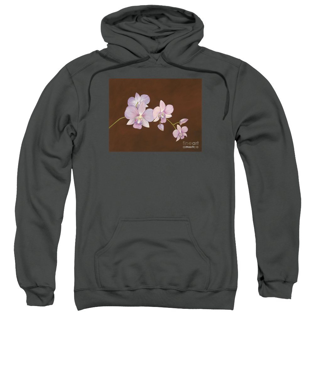 Orchid Sweatshirt featuring the painting Pink Orchids by Shawn Stallings