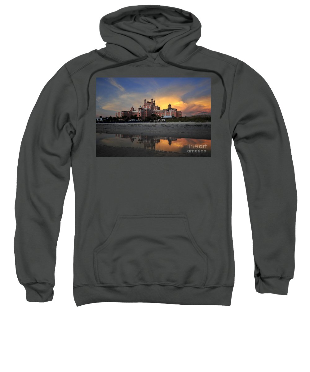 Don Cesar Hotel Florida Sweatshirt featuring the photograph Pink Reflections by David Lee Thompson