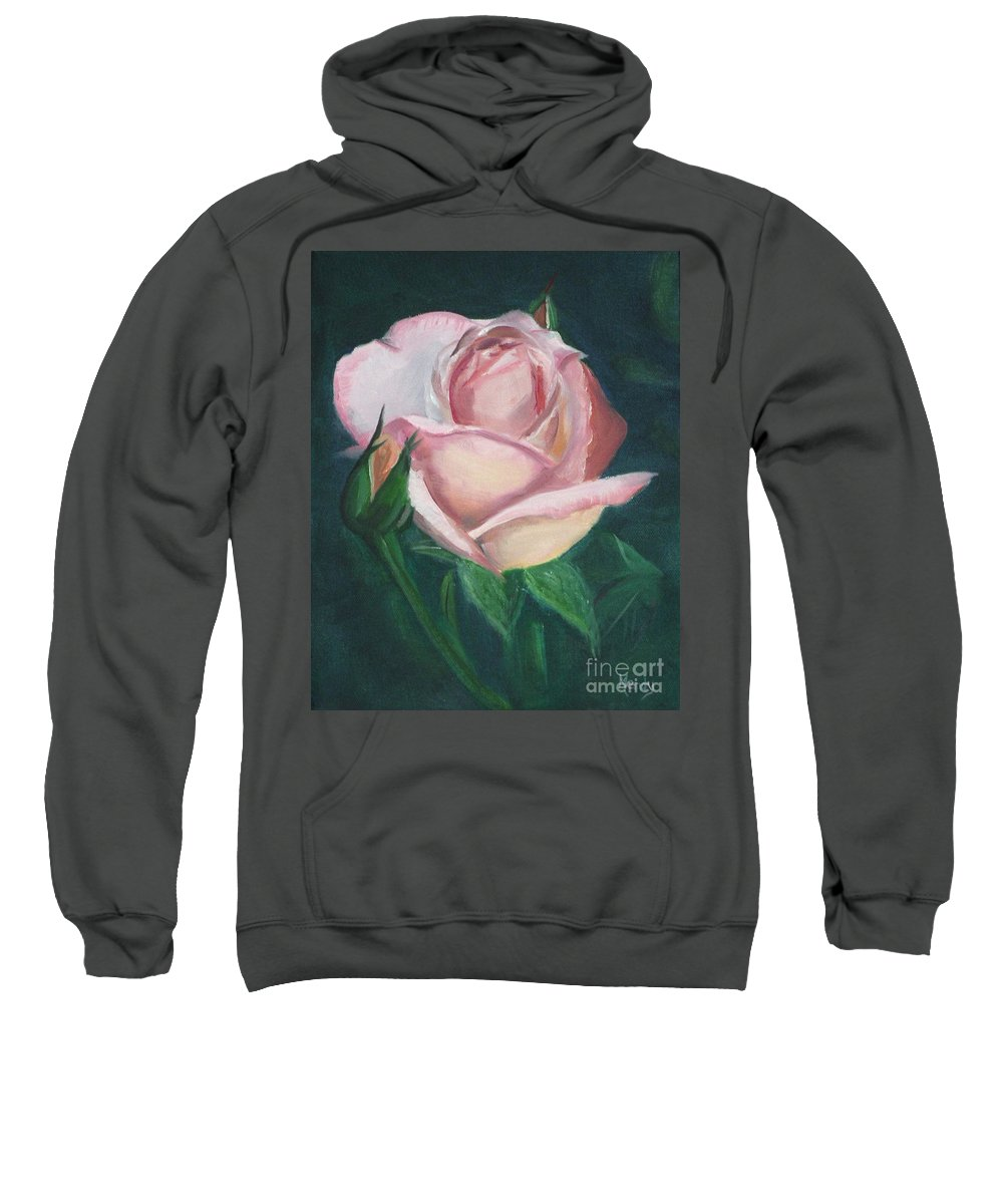 Rose Sweatshirt featuring the painting Pink Rose by Mendy Pedersen