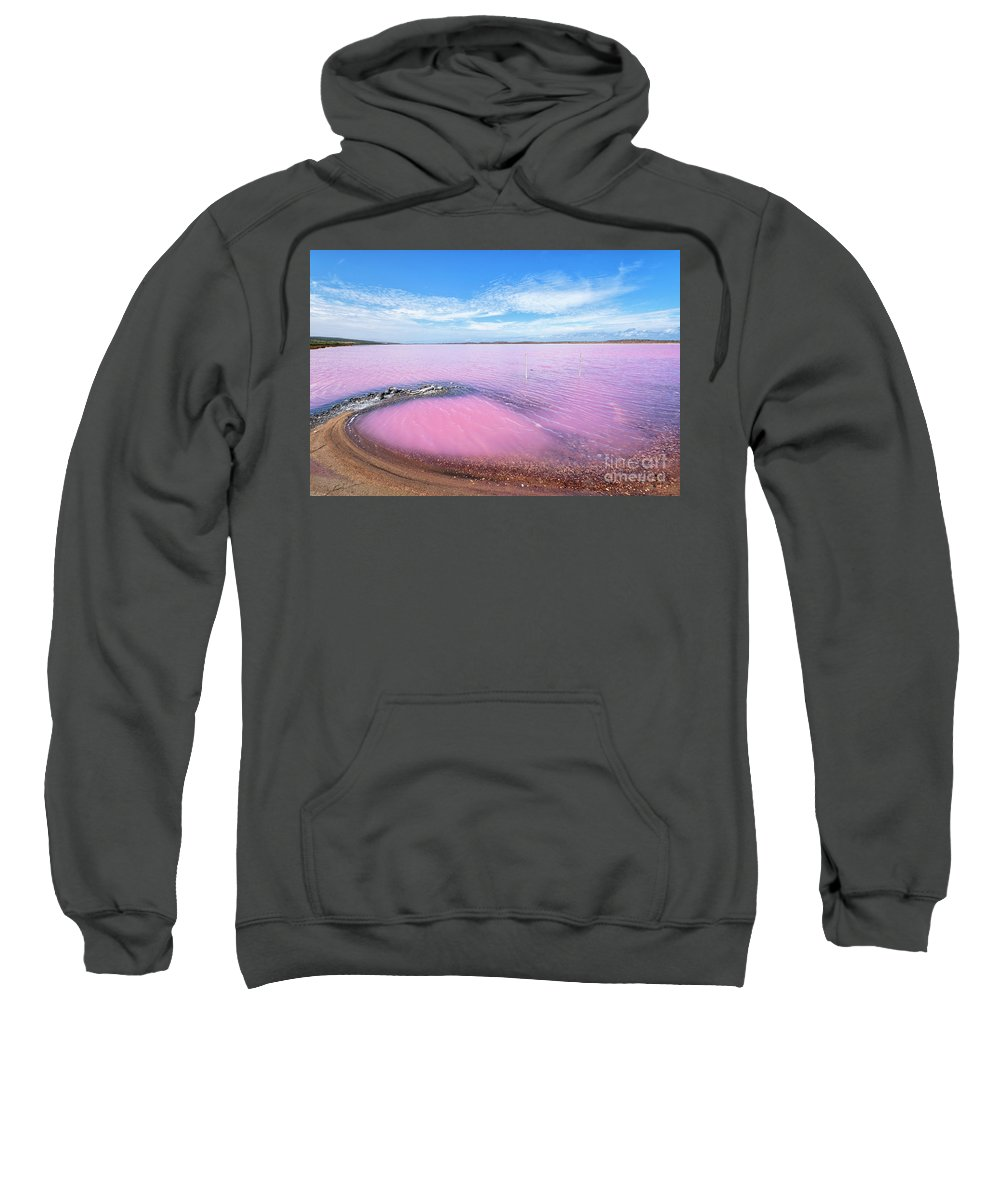 Pink Lake Sweatshirt featuring the photograph Pink Swirl by Genevieve Vallee