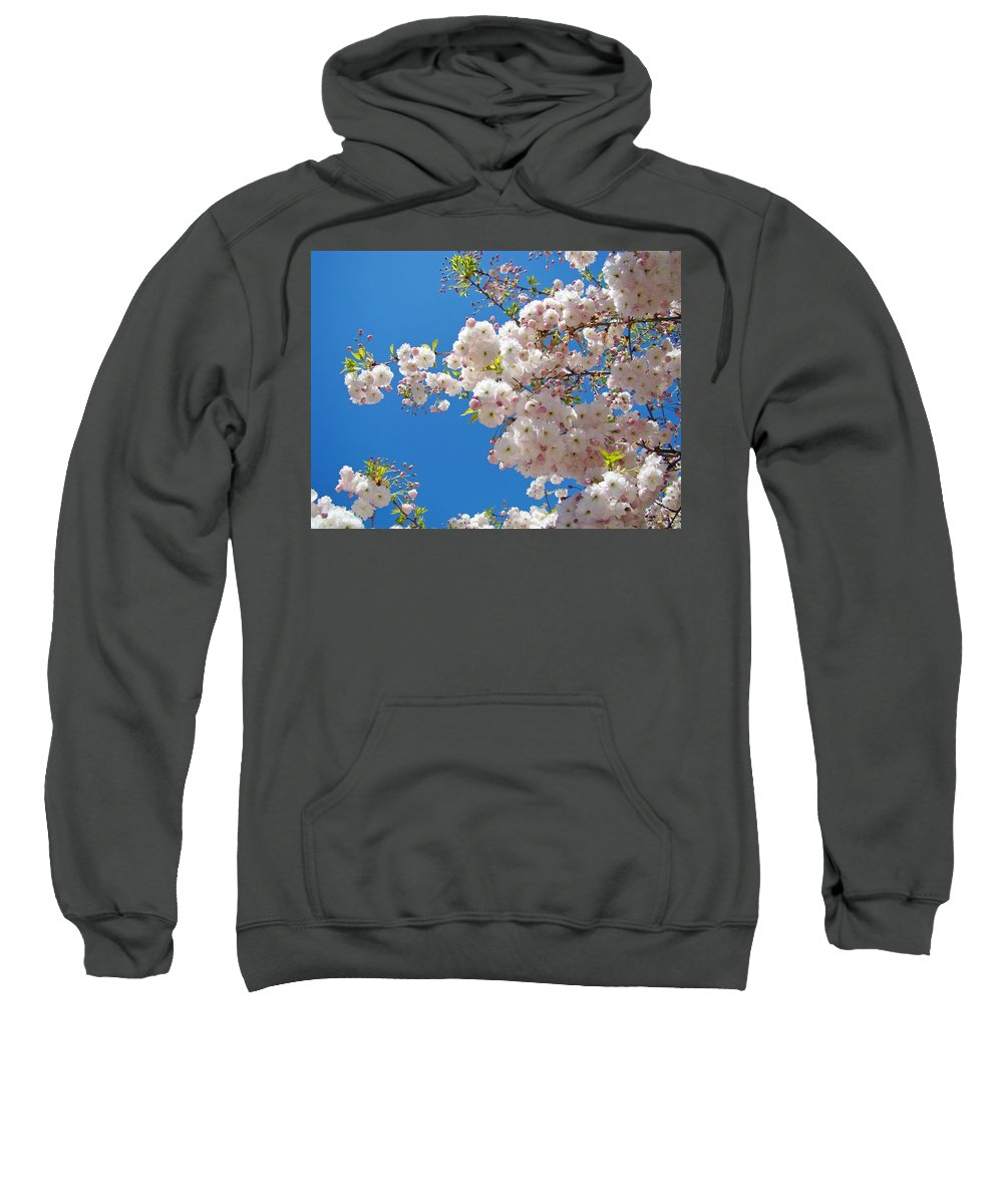 �blossoms Artwork� Sweatshirt featuring the photograph Pink Tree Blossoms Art Prints 55 Spring Flowers Blue Sky Landscape by Baslee Troutman