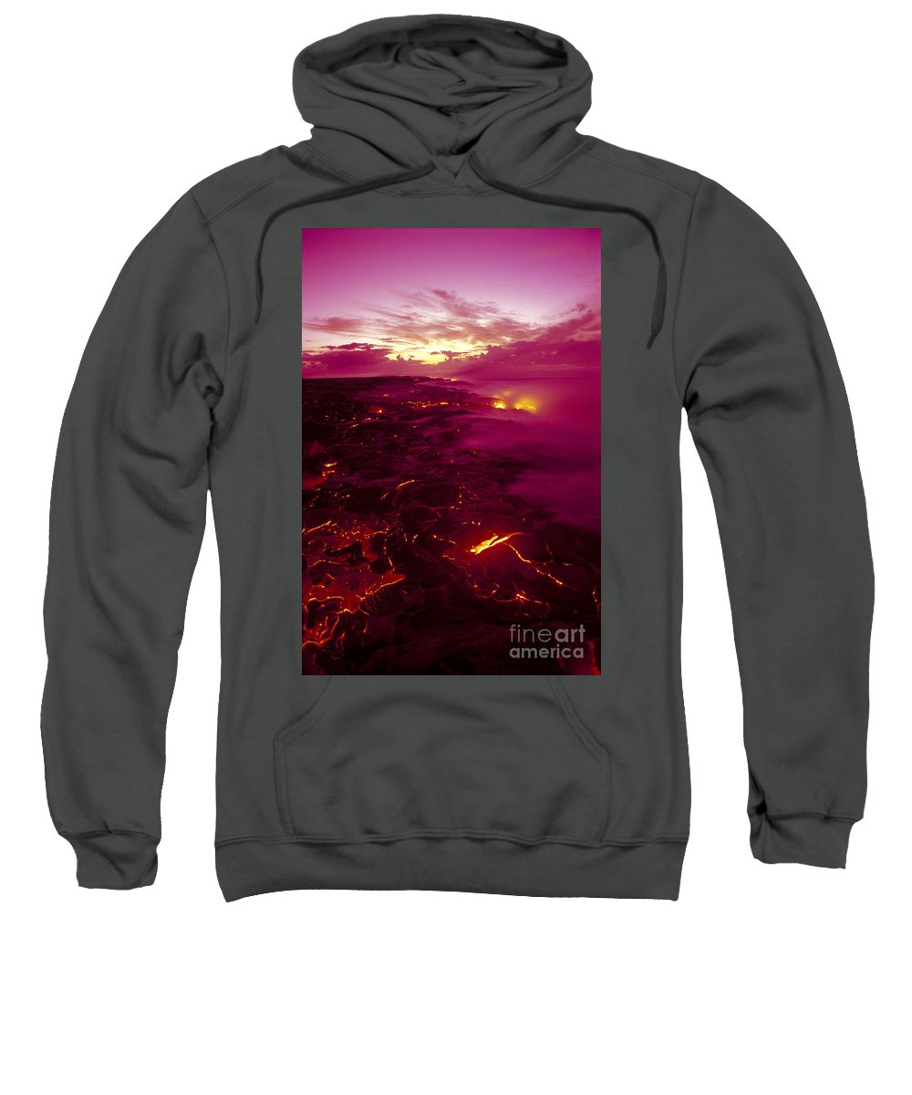2003va Earlier Sweatshirt featuring the photograph Pink Volcano Sunrise by Ron Dahlquist - Printscapes