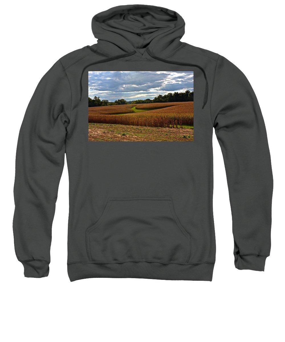 Amish Sweatshirt featuring the photograph Pinwheel Cornfield by Tana Reiff
