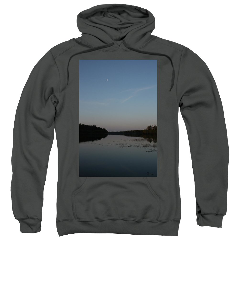 Piprell Lake Saskatchewan Moon Water Natural Nature Trees Forest Sky Reeds Sweatshirt featuring the photograph Piprell Lake At Dusk by Andrea Lawrence