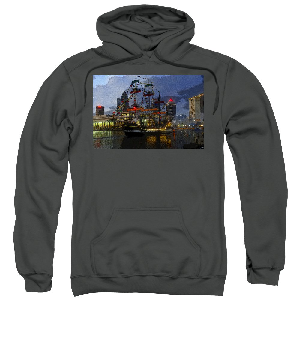 Art Sweatshirt featuring the painting Pirates Plunder by David Lee Thompson