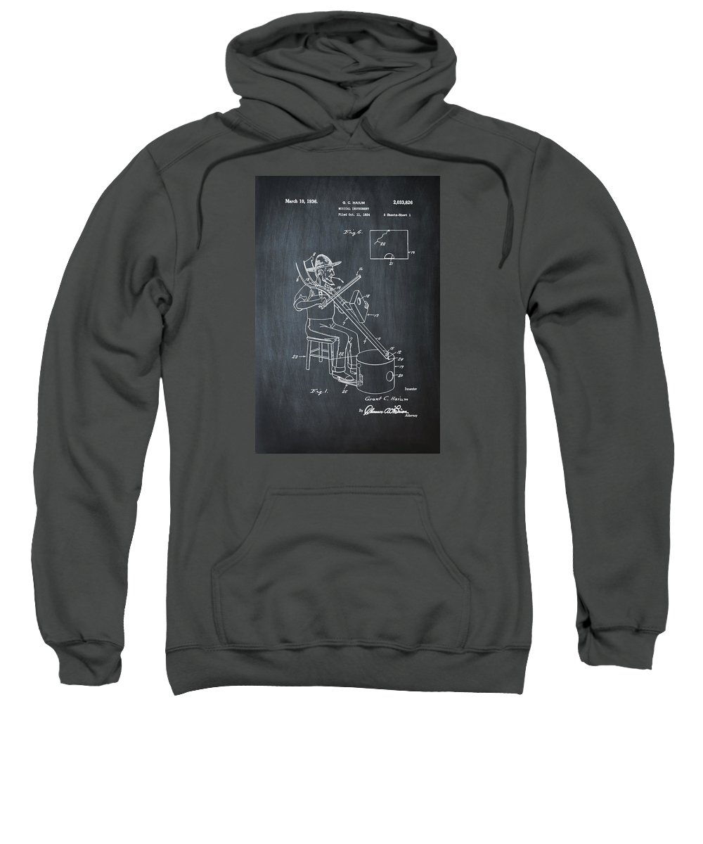 Pitch Sweatshirt featuring the photograph Pitch Fork Fiddle And Drum Patent 1936 - Chalk by Bill Cannon