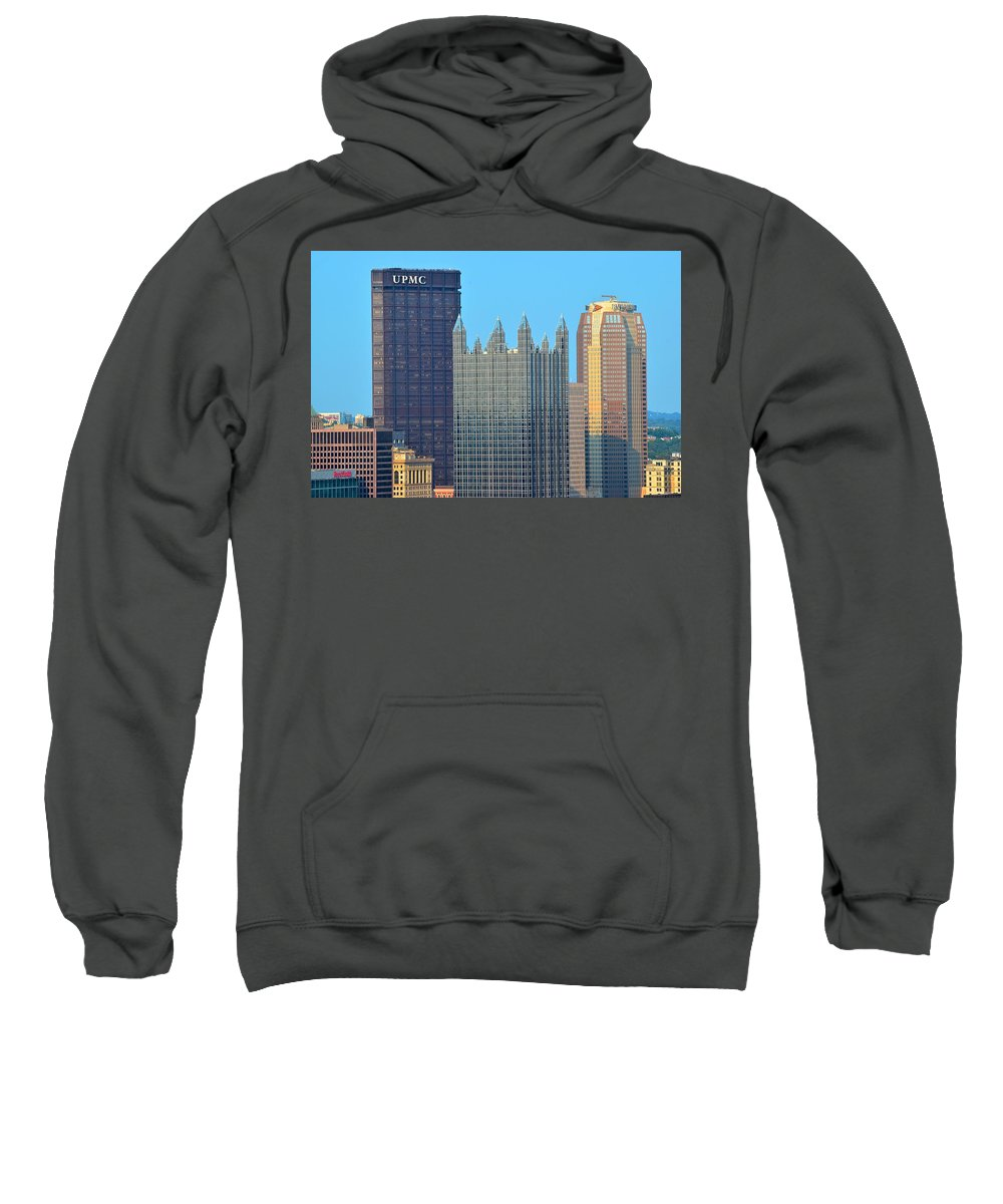 Pittsburgh Sweatshirt featuring the photograph Pittsburghs Big Three by Frozen in Time Fine Art Photography