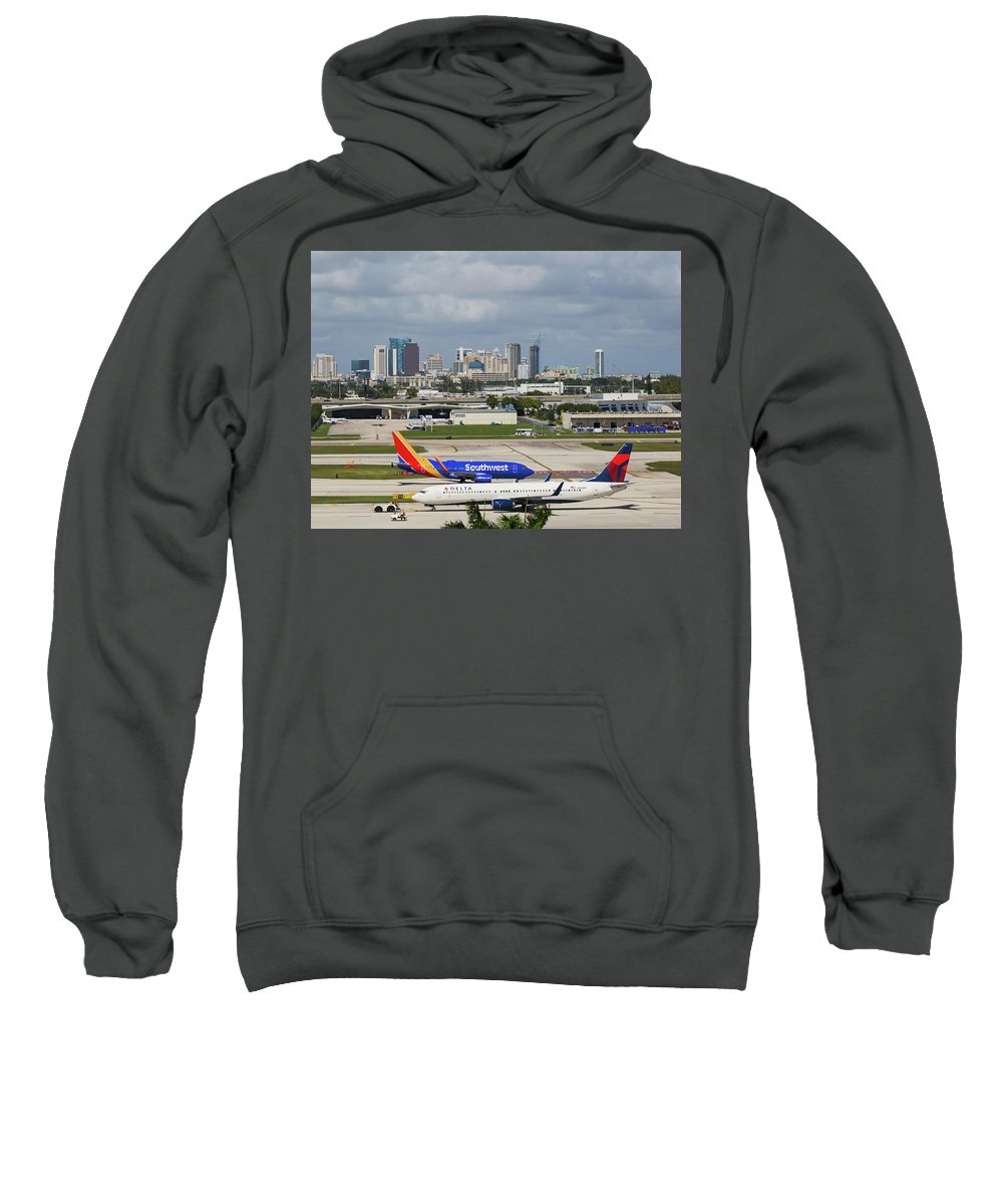 Southwest Sweatshirt featuring the photograph Planes By Fort Lauderdale by Dart Humeston