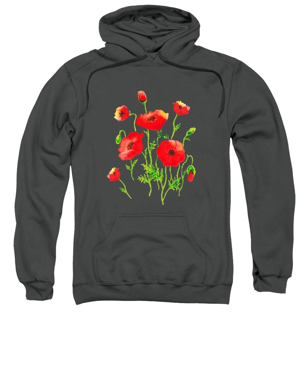 Poppy Sweatshirt featuring the painting Playful Poppy Flowers by Irina Sztukowski