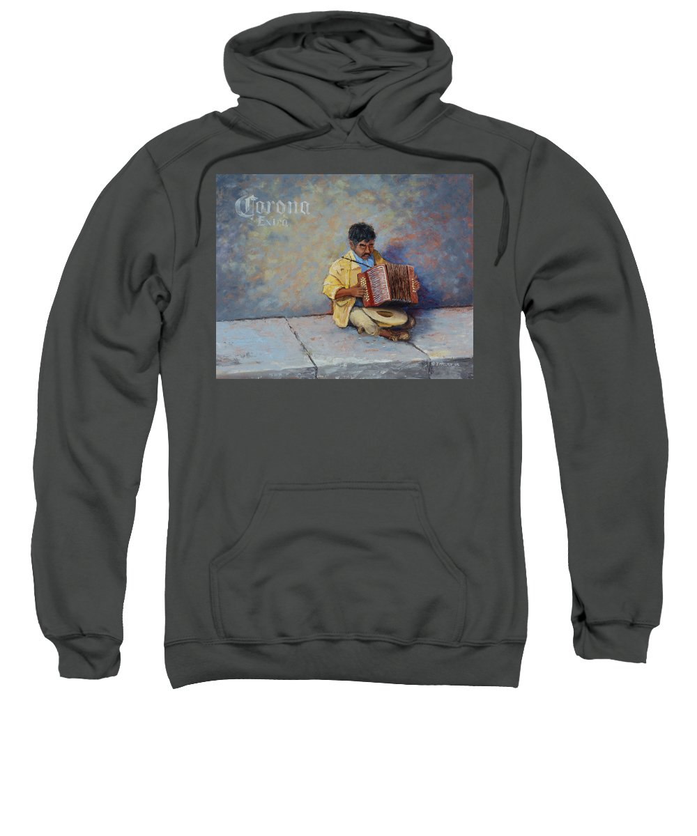 Mexico Sweatshirt featuring the painting Playing For Pesos by Jerry McElroy