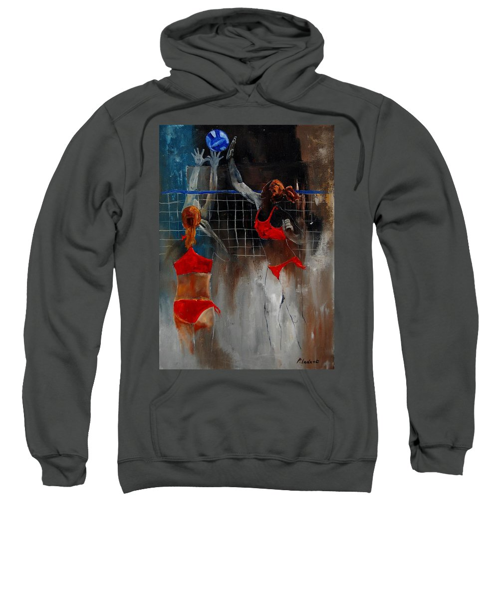 Sport Sweatshirt featuring the painting Playing Volley by Pol Ledent