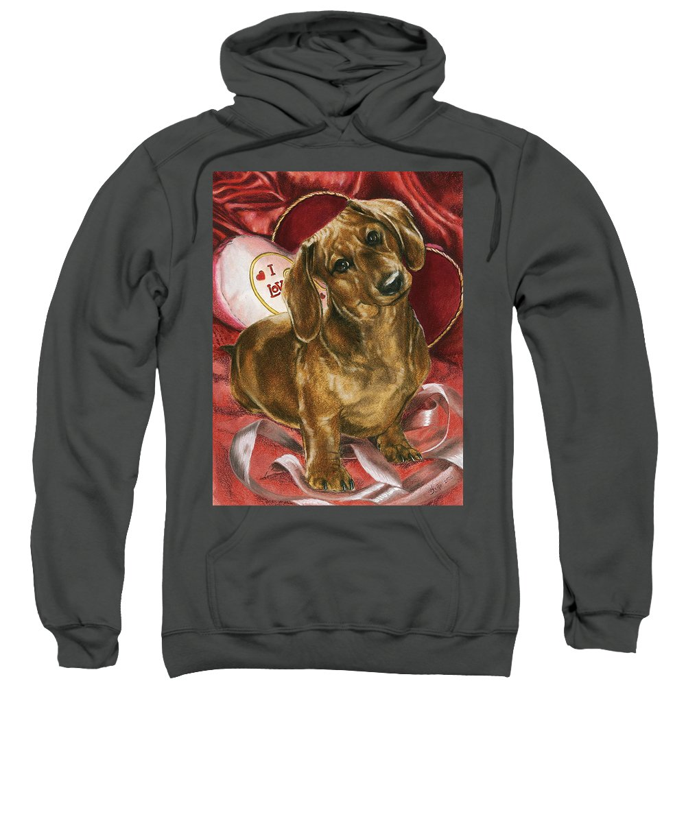 Dogs Sweatshirt featuring the mixed media Please Be Mine by Barbara Keith