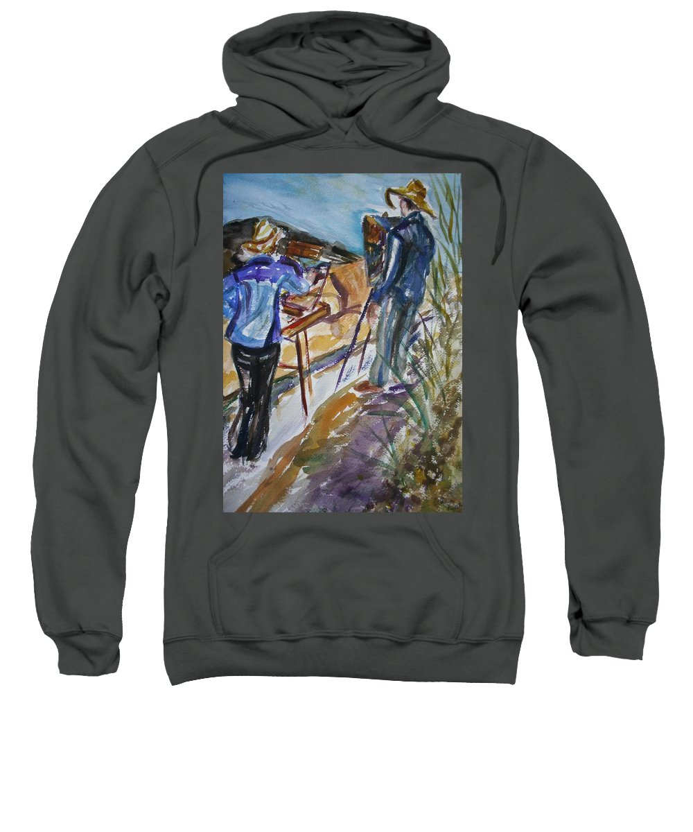 Impressionist Sweatshirt featuring the painting Plein Air Painters - Original Watercolor by Quin Sweetman