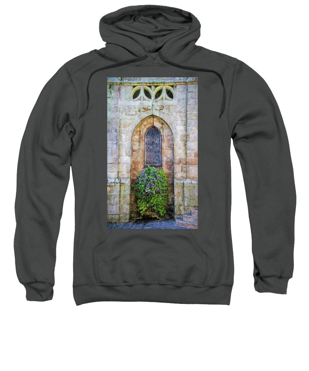 Plumergat Sweatshirt featuring the photograph Plumergat, Brittany,france, Parish Church Window by Curt Rush