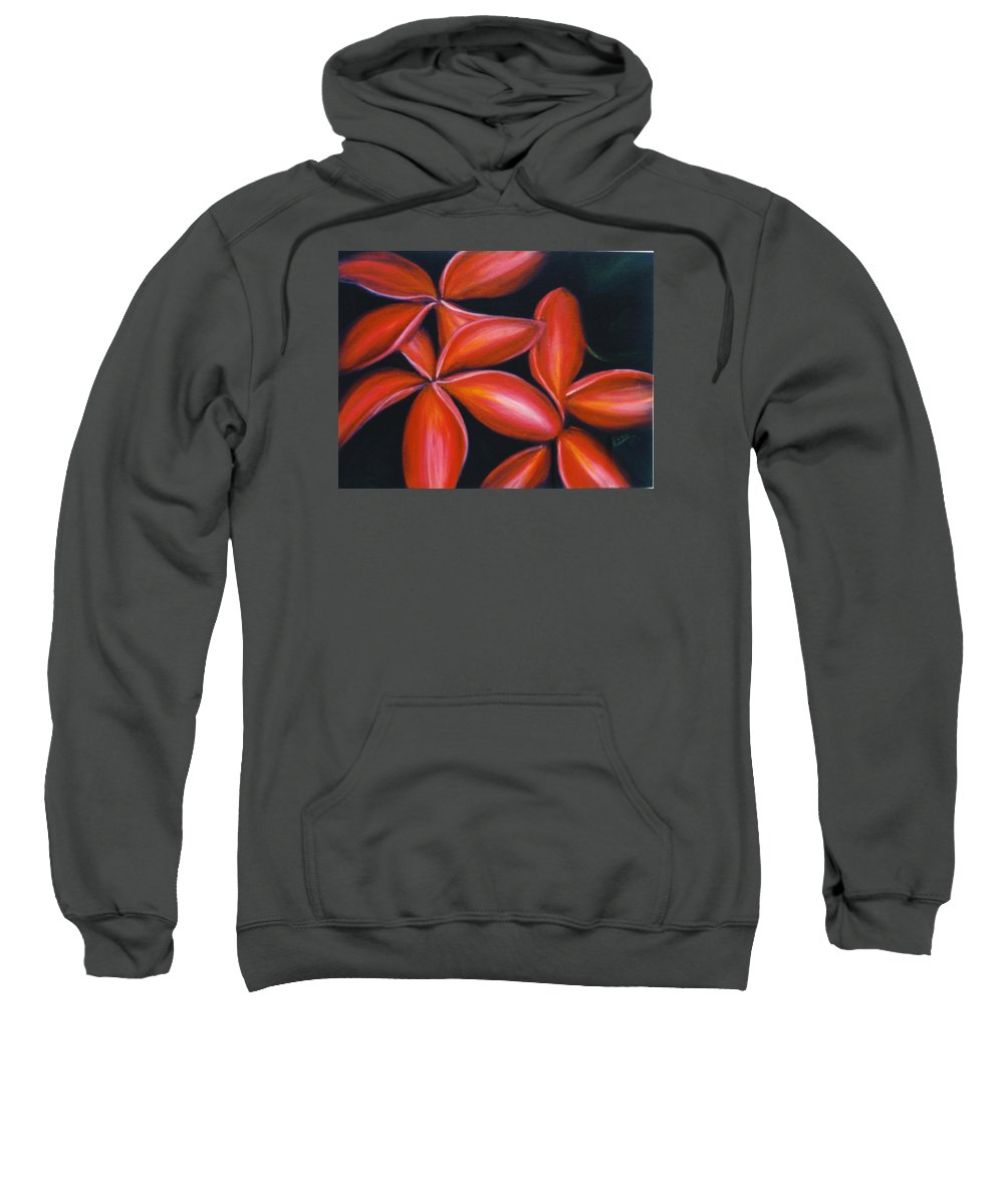 Floral Sweatshirt featuring the painting Plumeria Rouge by Dina Holland