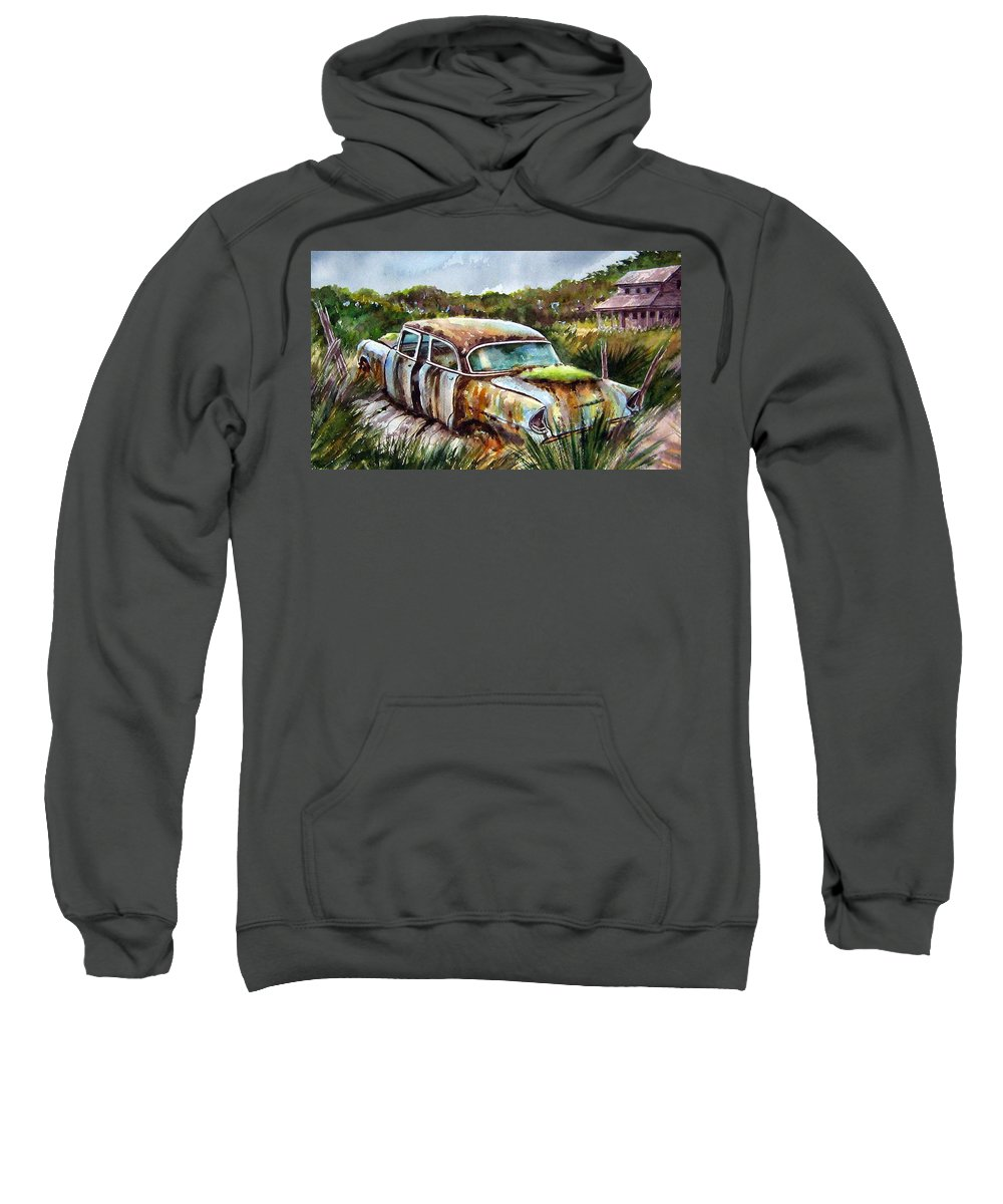 Plymouth Sweatshirt featuring the painting Plymouth On The Rocks by Ron Morrison