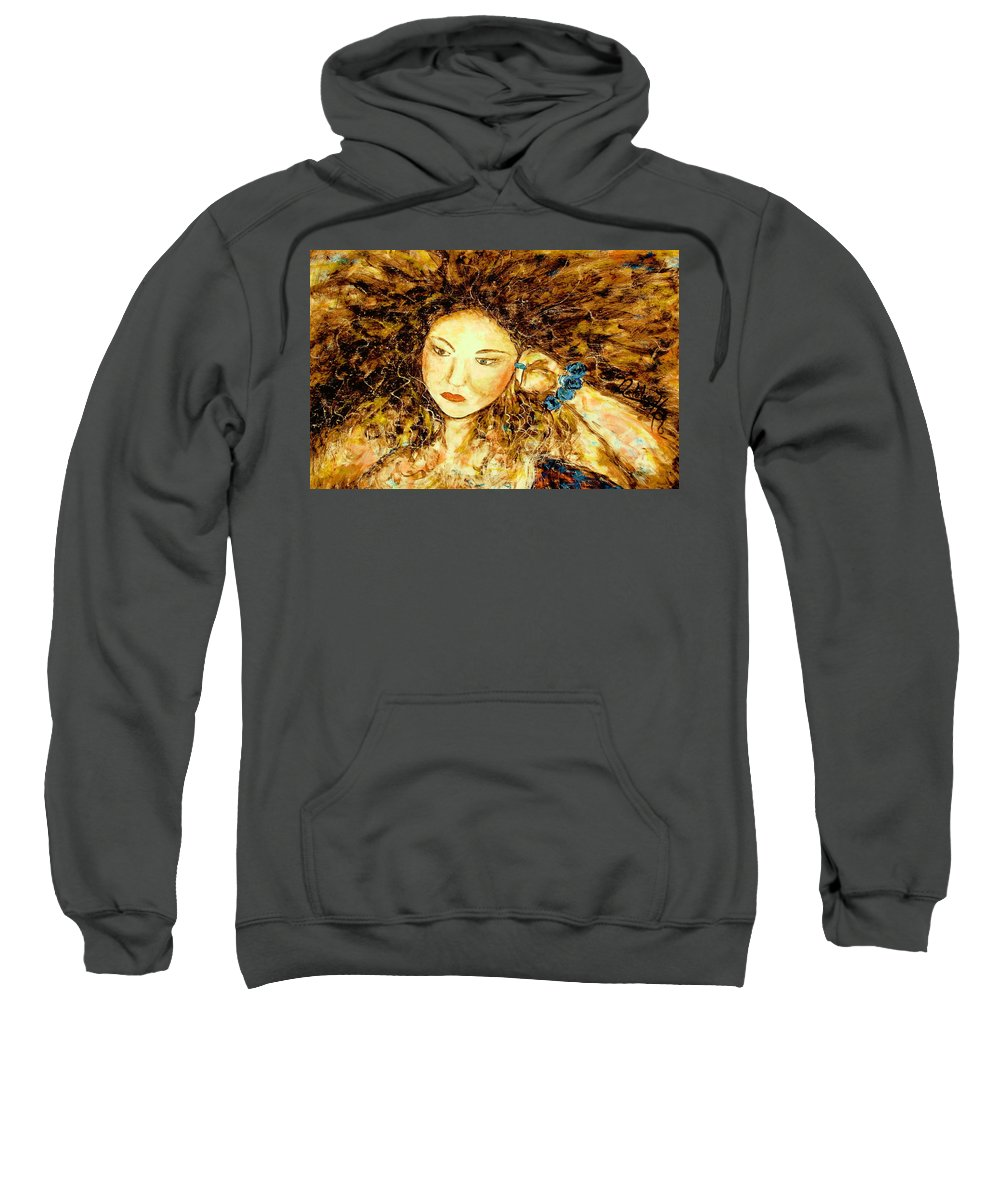 Portrait Sweatshirt featuring the painting Poet by Natalie Holland