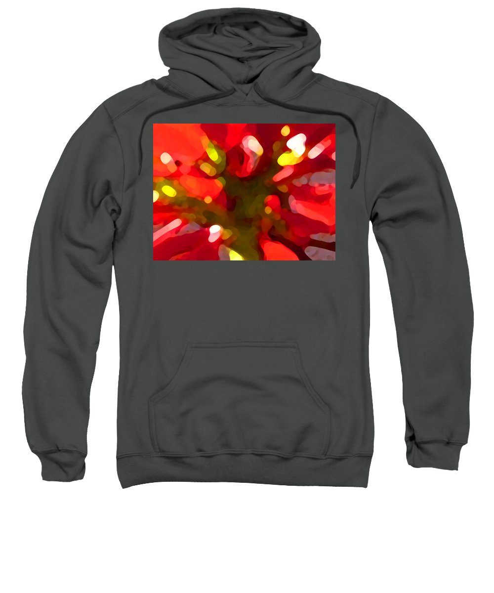 Abstract Painting Sweatshirt featuring the painting Poinsetta by Amy Vangsgard