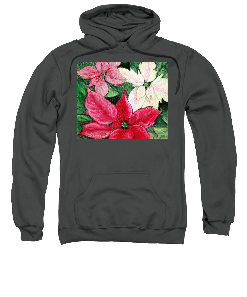 Poinsettia Sweatshirt featuring the pastel Poinsettia Pastel by Nancy Mueller
