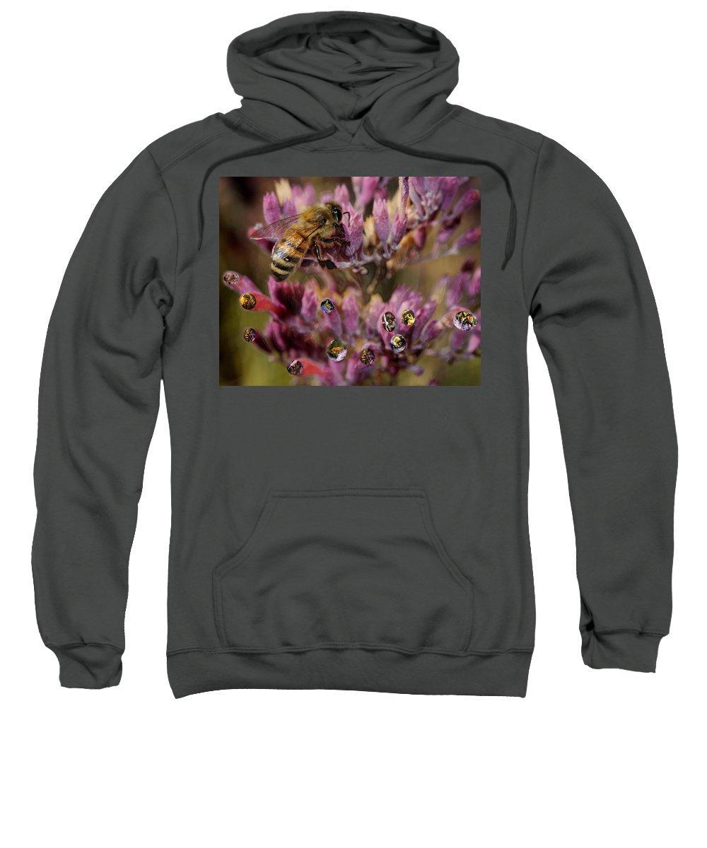 Bee. Cutter Sweatshirt featuring the digital art Pollen Bees by Roger Medbery