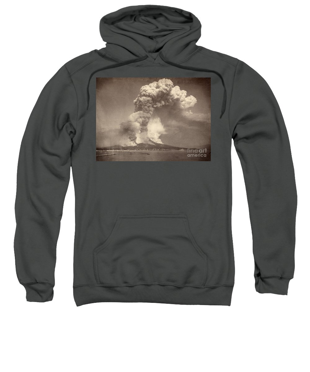 1872 Sweatshirt featuring the photograph Pompeii: Mount Vesuvius by Granger