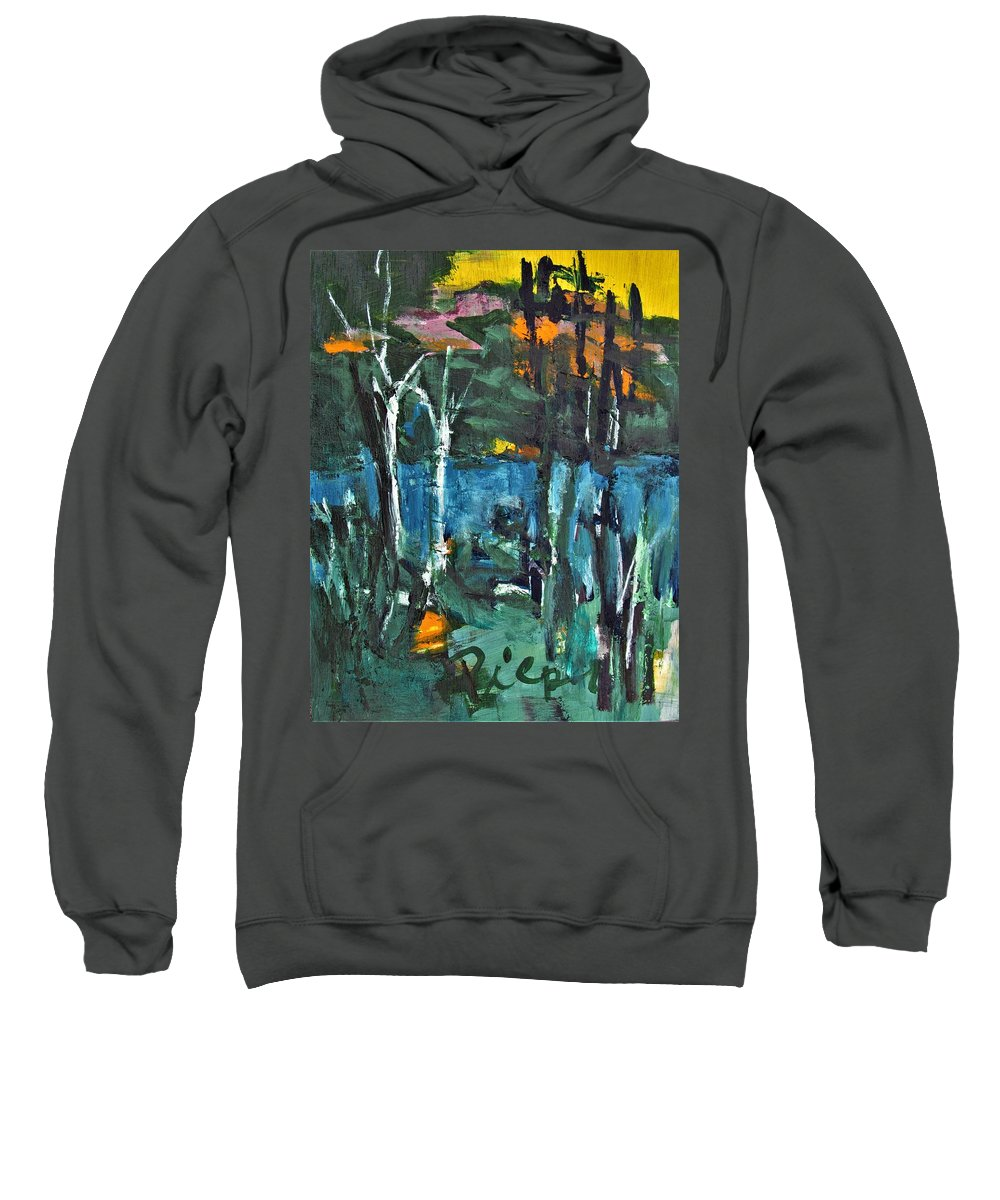 Pond Sweatshirt featuring the painting Pond Near Fourth Lake by Betty Pieper