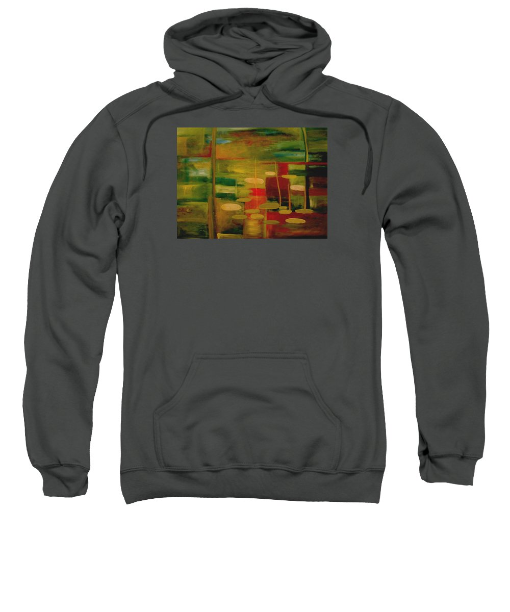 Pond Sweatshirt featuring the painting Pond Reflections by Jun Jamosmos