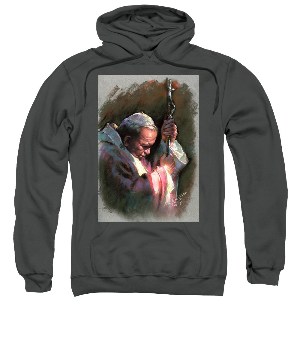Portrait Sweatshirt featuring the pastel Pope John Paul II by Ylli Haruni