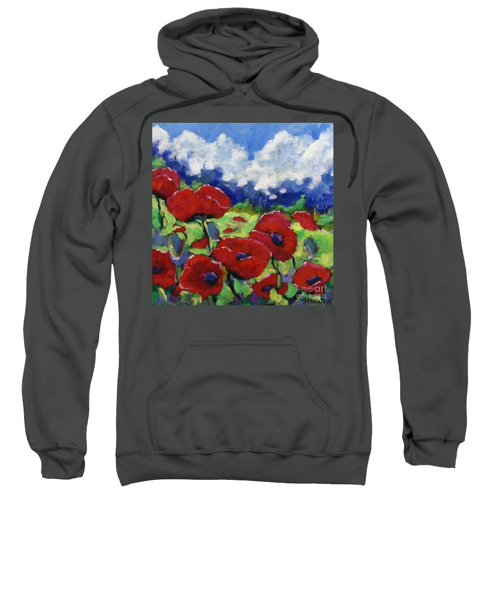 Art Sweatshirt featuring the painting Poppies 003 by Richard T Pranke