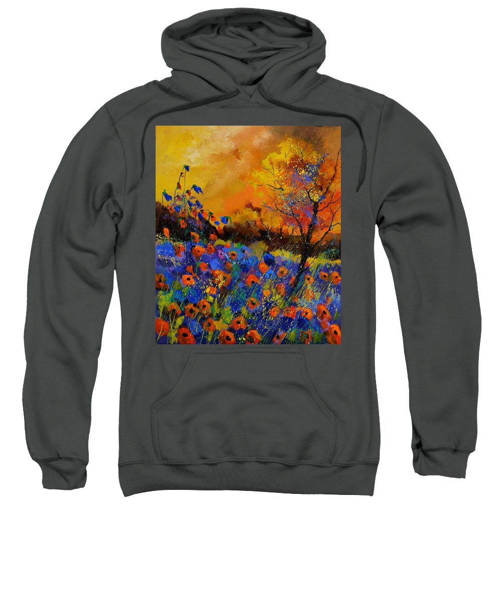 Landscape Sweatshirt featuring the painting Poppies 675140 by Pol Ledent
