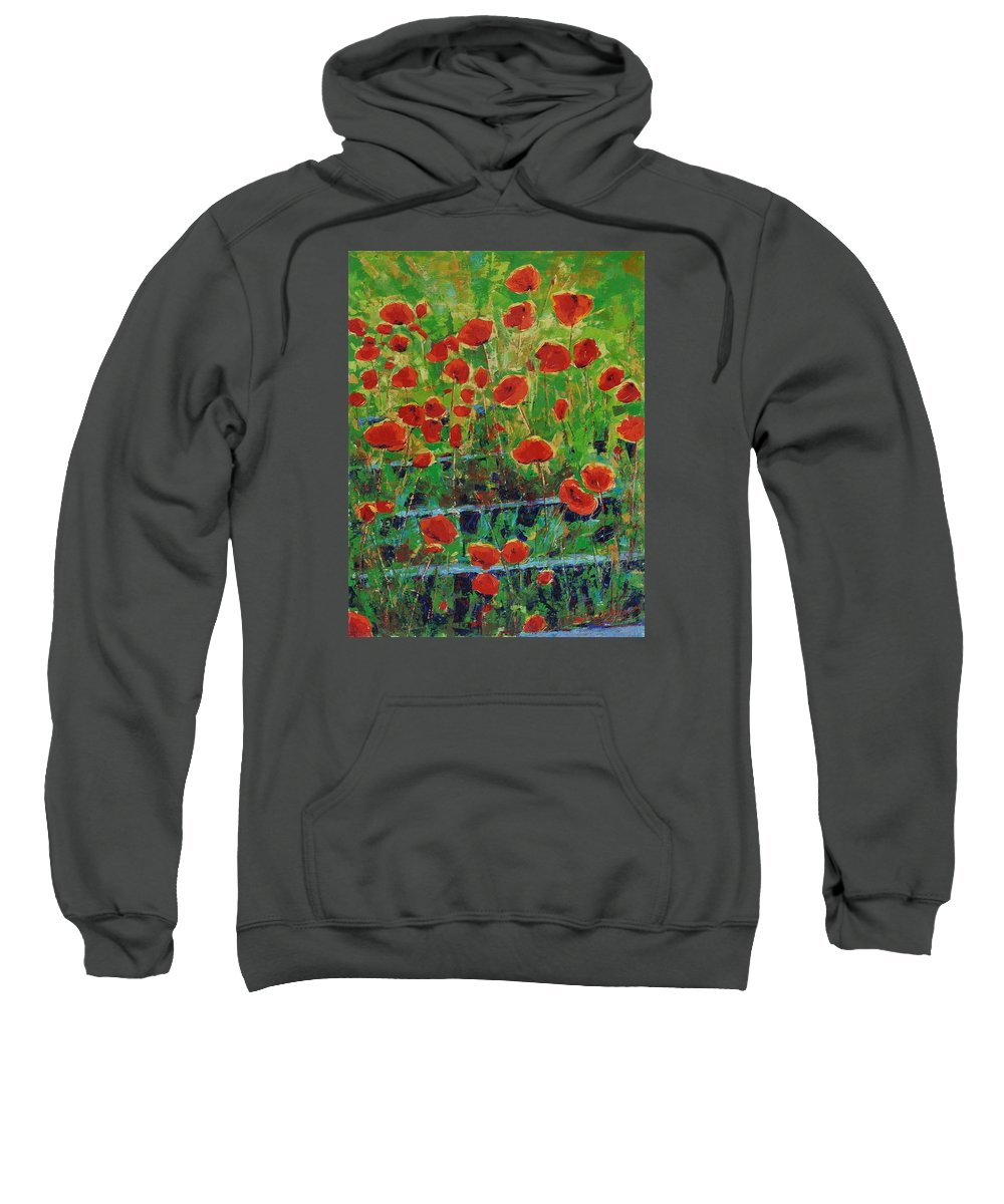 Poppies Sweatshirt featuring the painting Poppies And Traverses 1 by Iliyan Bozhanov