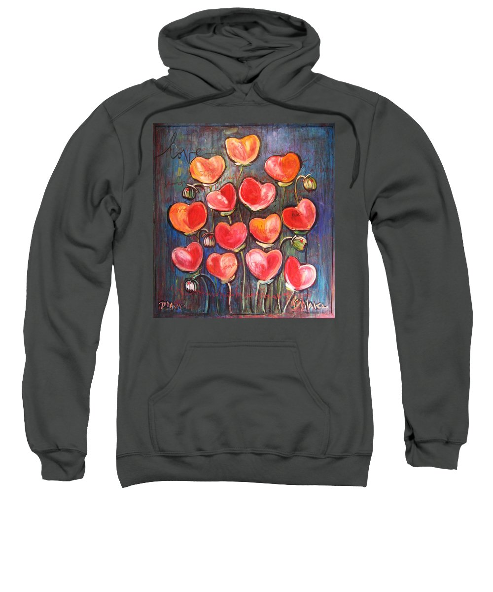 Poppies Sweatshirt featuring the painting Poppies Are Hearts Of Love We Can Give Away by Laurie Maves ART