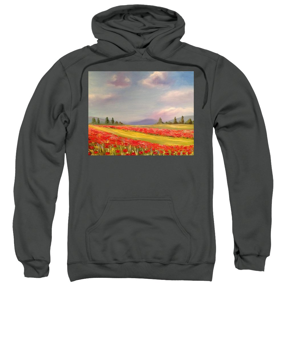 Provence Landscape Sweatshirt featuring the painting Poppies by Eve Mariya Blyznyuk