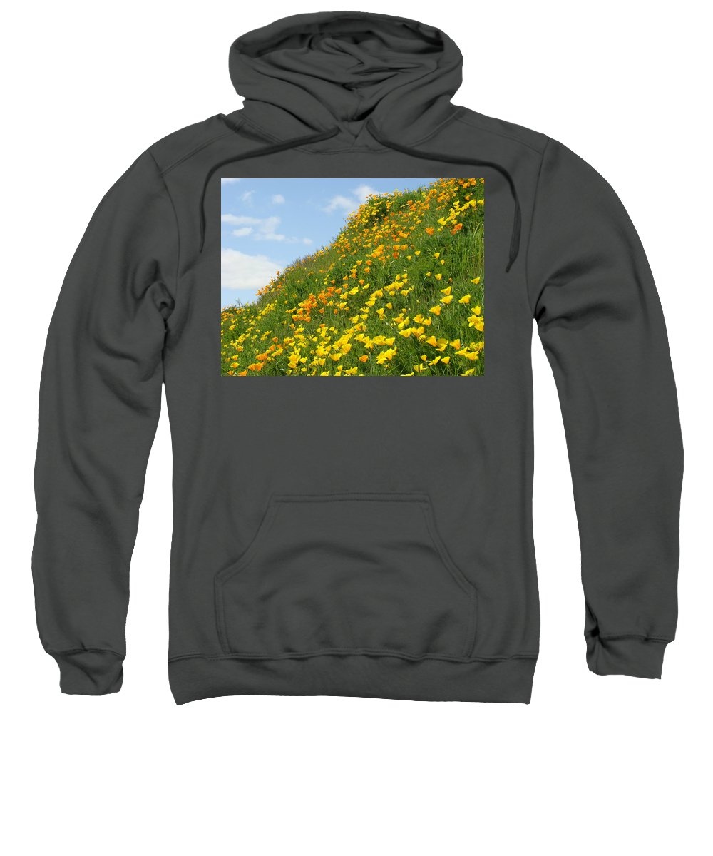 �poppies Artwork� Sweatshirt featuring the photograph Poppies Hillside Meadow 17 Blue Sky White Clouds Giclee Art Prints Baslee Troutman by Baslee Troutman