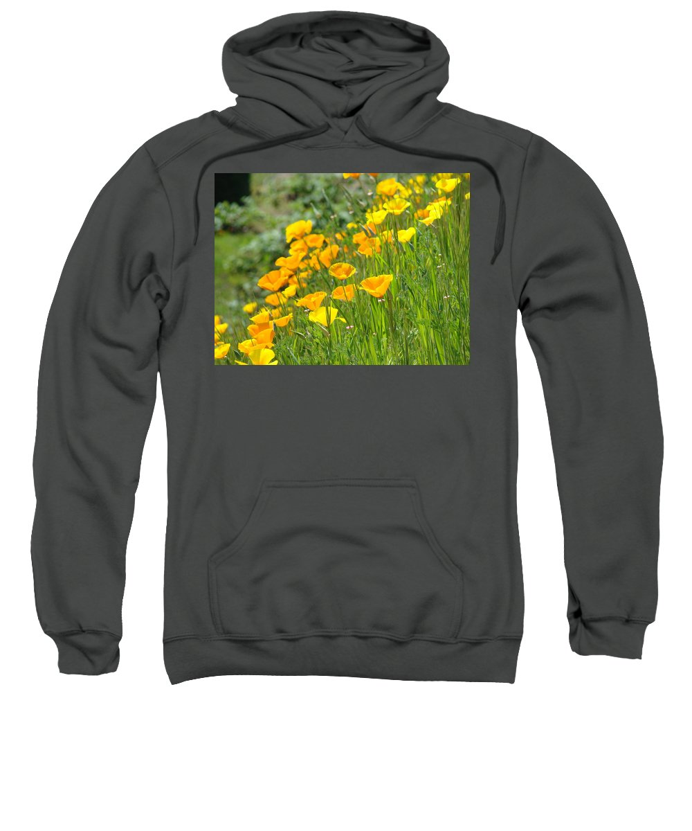 �poppies Artwork� Sweatshirt featuring the photograph Poppies Hillside Meadow Landscape 19 Poppy Flowers Art Prints Baslee Troutman by Baslee Troutman