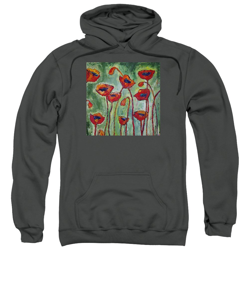 Poppies Sweatshirt featuring the painting Poppies I by Jo Gerrior