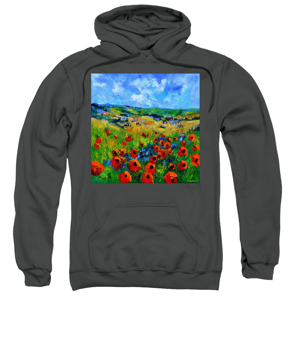 Landscape Sweatshirt featuring the painting Poppies in Ieper by Pol Ledent
