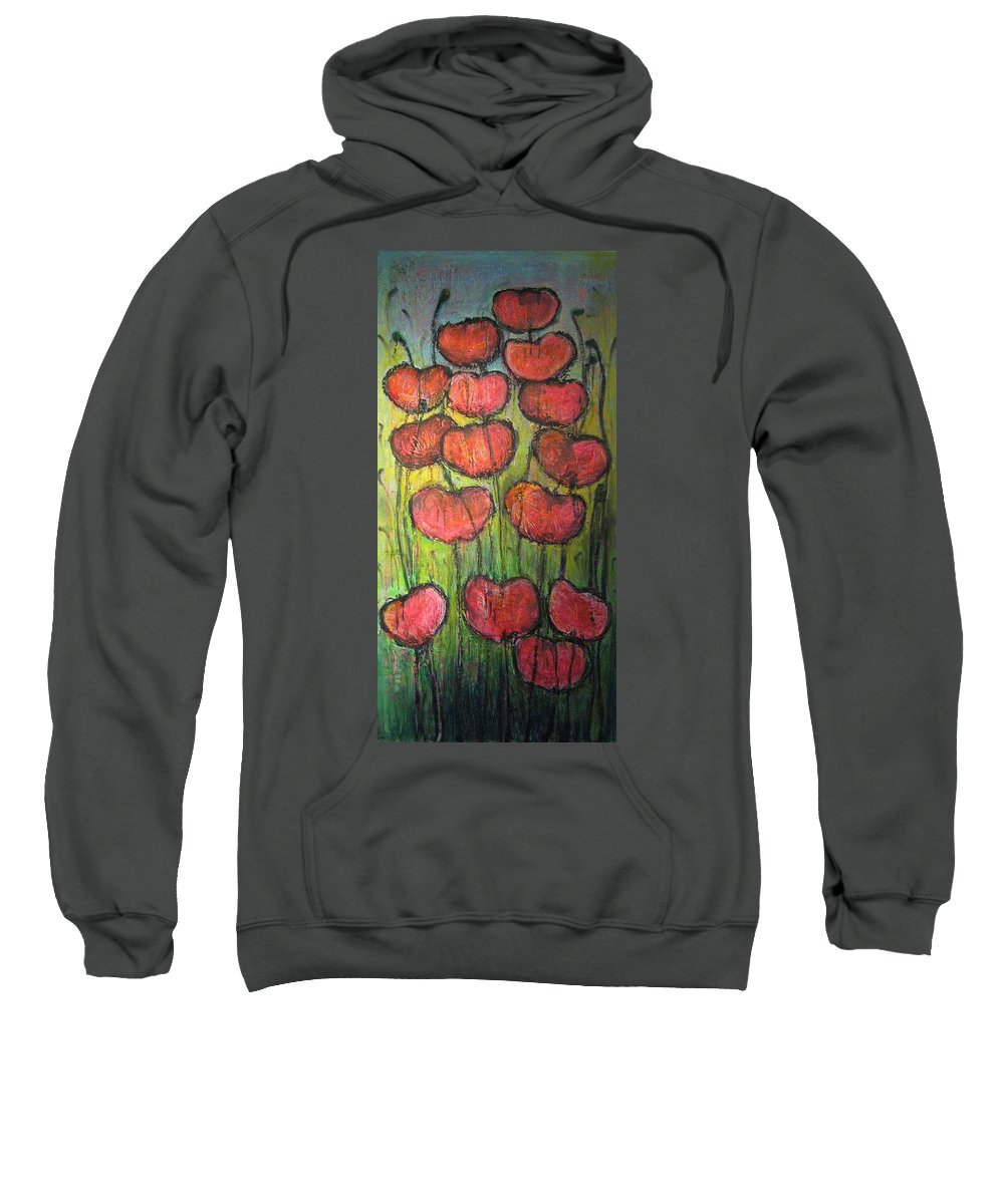 Poppies Sweatshirt featuring the painting Poppies In Oil by Laurie Maves ART