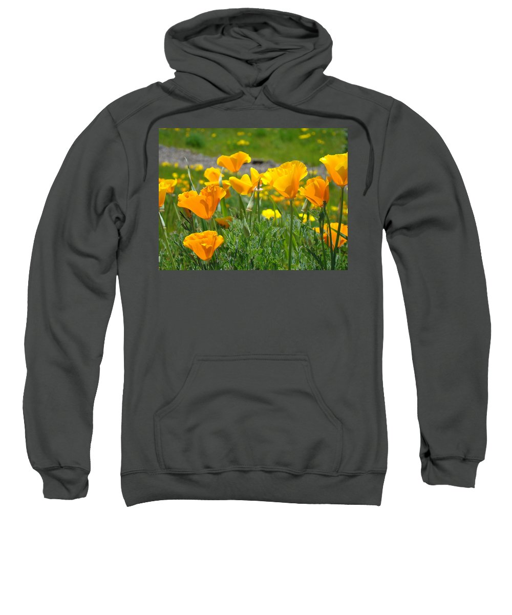 �poppies Artwork� Sweatshirt featuring the photograph Poppies Meadow Summer Poppy Flowers 18 Wildflowers Poppies Baslee Troutman by Baslee Troutman