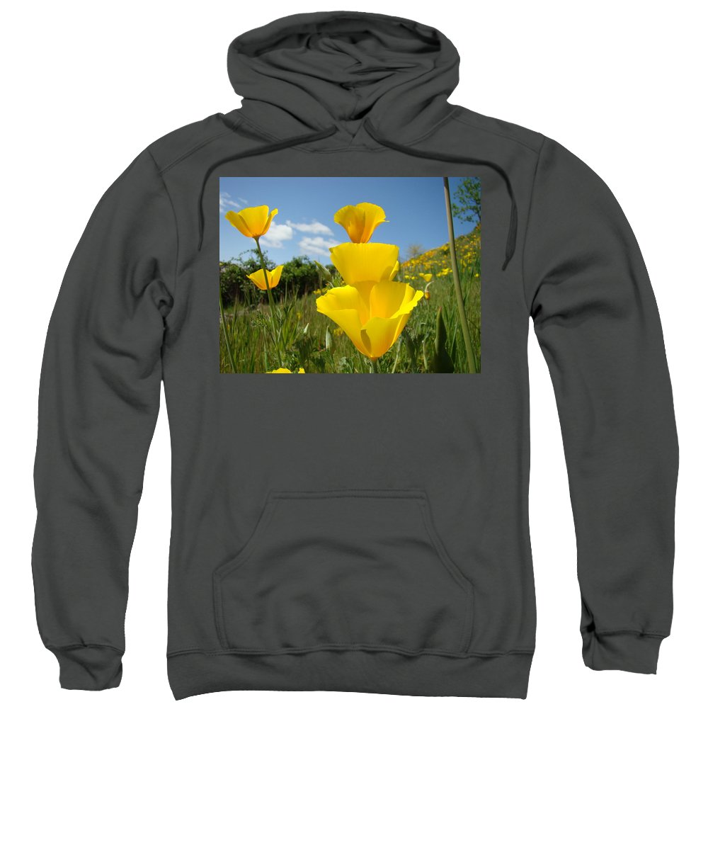 �poppies Artwork� Sweatshirt featuring the photograph Poppy Flower Meadow 7 Poppies Blue Sky Artwork Baslee Troutman by Baslee Troutman