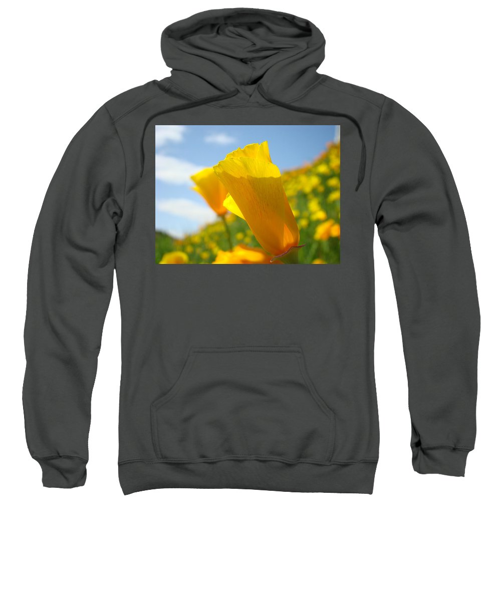 �poppies Artwork� Sweatshirt featuring the photograph Poppy Flowers Meadow 3 Sunny Day Art Blue Sky Landscape by Baslee Troutman