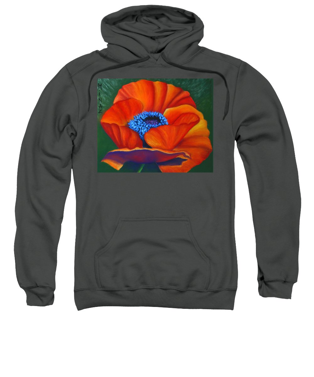Red Flower Sweatshirt featuring the painting Poppy Pleasure by Minaz Jantz