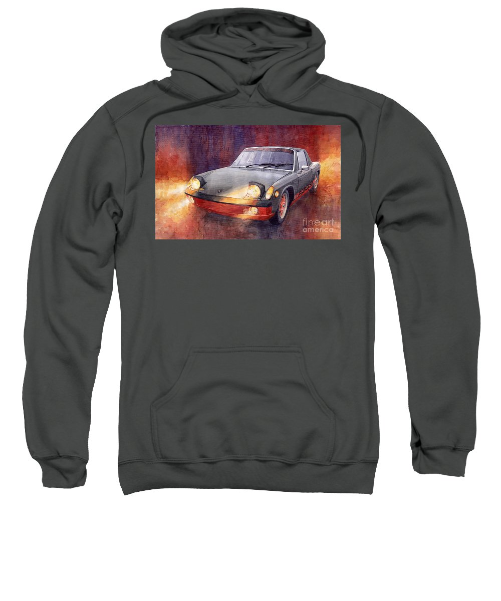 Auto Sweatshirt featuring the painting 1970 Porsche 914 by Yuriy Shevchuk