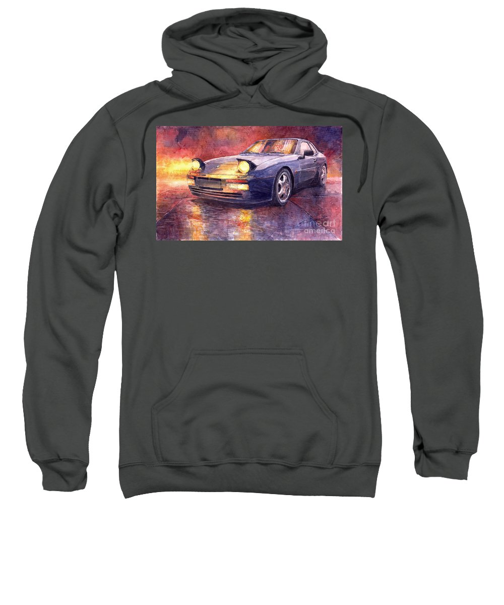Auto Sweatshirt featuring the painting Porsche 944 Turbo by Yuriy Shevchuk