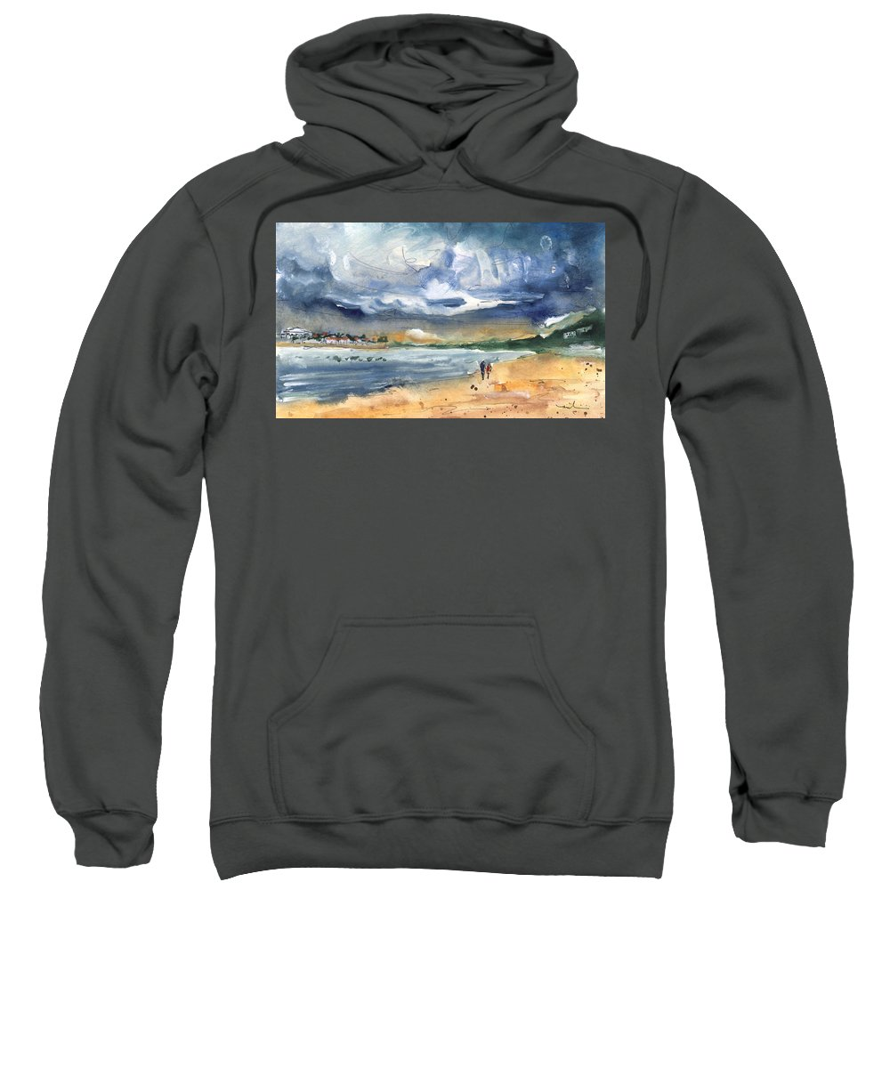 Travel Sweatshirt featuring the painting Port Alcudia Beach 03 by Miki De Goodaboom