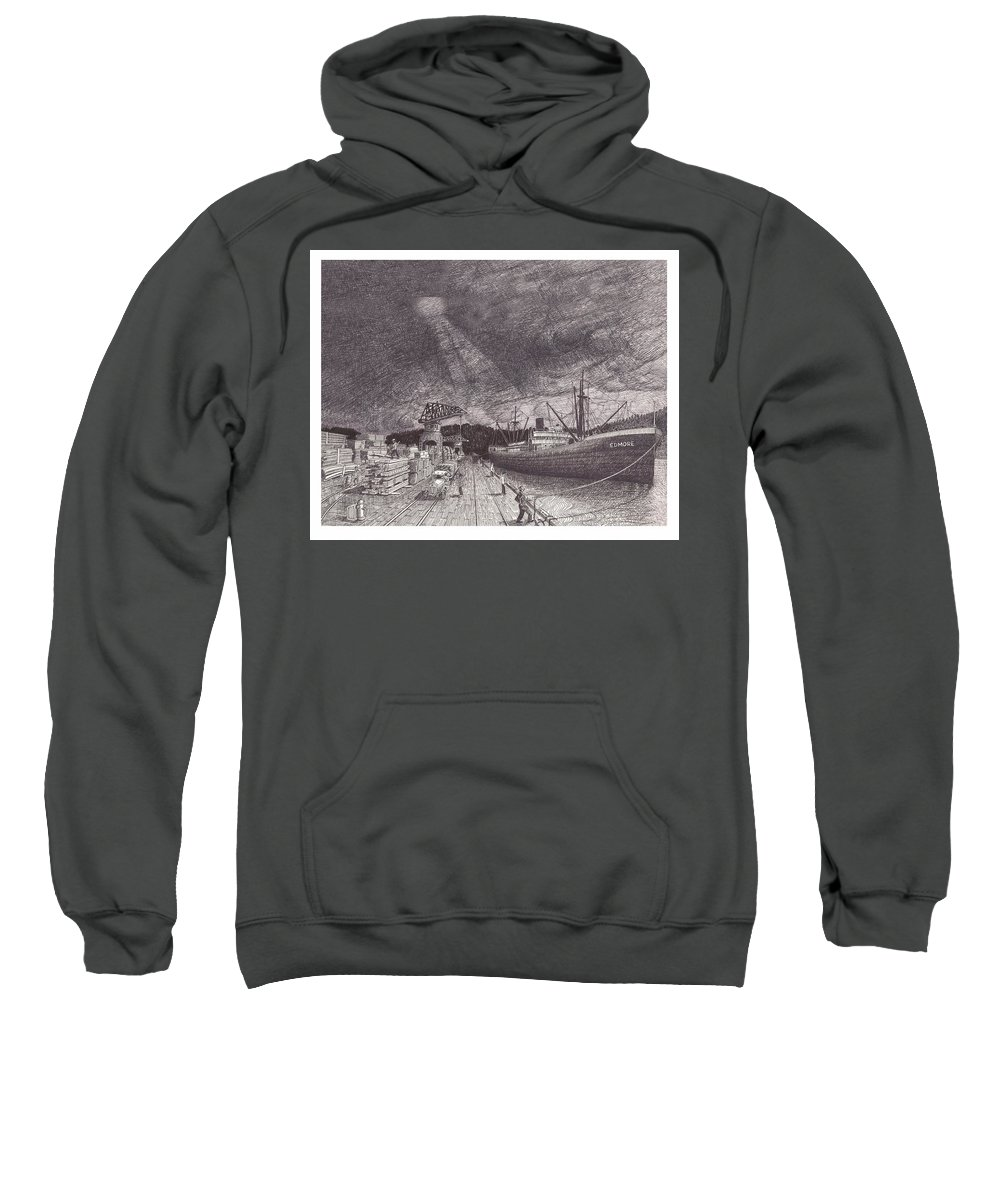 Port Of Tacoma Sweatshirt featuring the drawing Port Of Tacoma Wa Waterfront by Jack Pumphrey