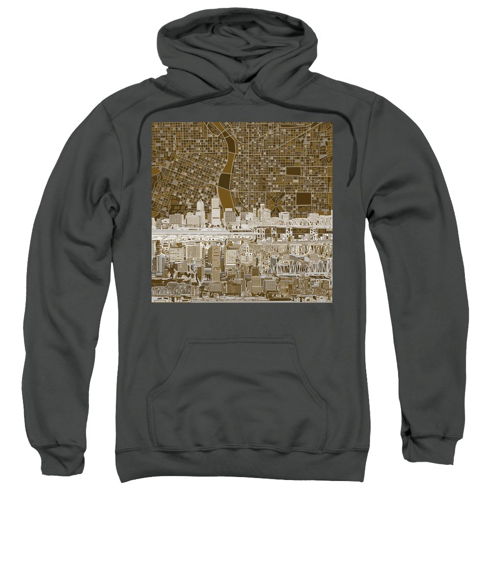 Portland Sweatshirt featuring the painting Portland Skyline Abstract 6 by Bekim M