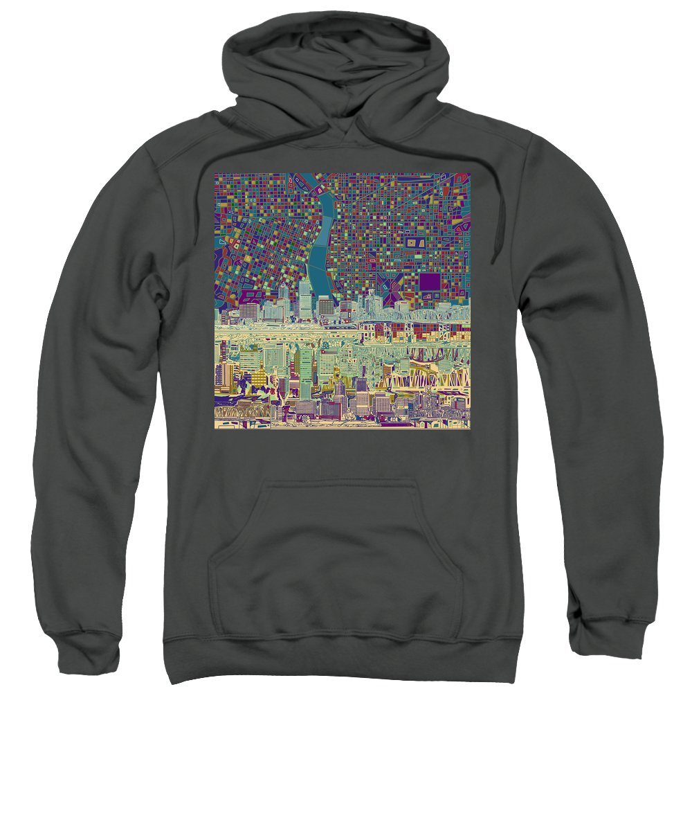 Portland Sweatshirt featuring the painting Portland Skyline Abstract 7 by Bekim M