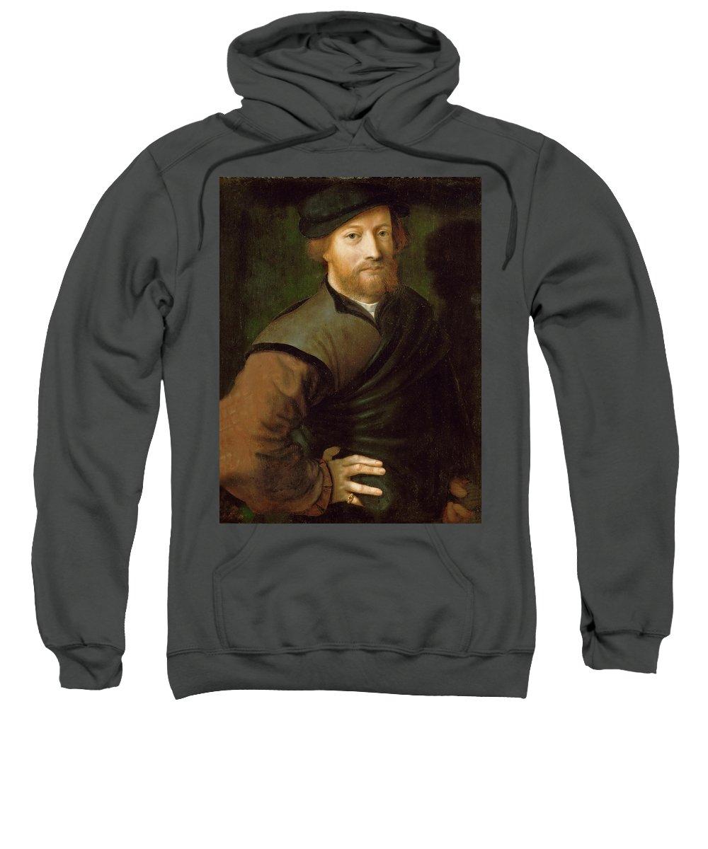 Jan Sanders Van Hemessen Sweatshirt featuring the painting Portrait Of A Man by Jan Sanders van Hemessen